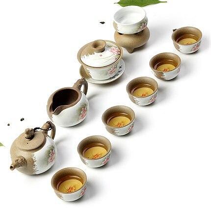 Ceramic Kung Fu Tea Set Handmade Coarse Pottery Teapot Tea Cup Tea Washing bowl Original soil health and safety