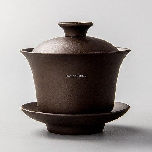 Chinese Ceramics Teapot Elegant Gaiwan Tea Cups Purple Clay Tureen 120ml Lid Bowl Saucer Zisha Tea Brew Tea Cup