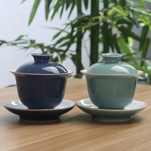 Chinese Teaset Elegant Gaiwan Tea Cups  Tureen Bowl Saucer  Tea Brew Tea Cup Drop Shipping