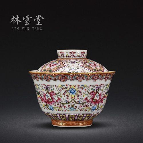 treasure phase spend phoenix grain colored enamel 2 to tureen jingdezhen handmade porcelain clay kung fu tea cup