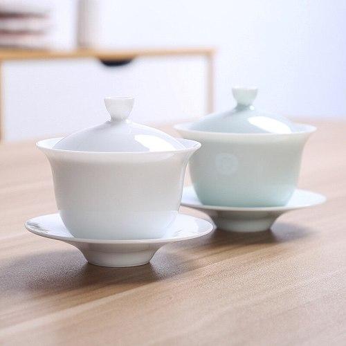 White Porcelain Tureen Cup Tea Ceremony Kung Fu Teacups Ceramics Tureen Tea Cup Chinese Traditional Tea Set Gaiwan