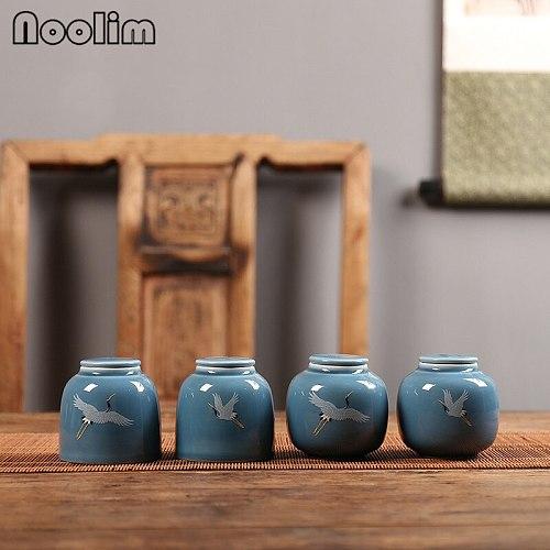 Creative Small Portable Hand Painted Crane Tea Caddy Retro Ceramic Canisters Sealed Spice Jar Storage Tank Mini Potable Box
