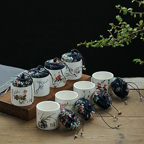 Plant Painting Home Storage Jar Portable Tea Sealed Container Candy Package Box Kitchen Tea Storage Box Small Powder Coffee Jar