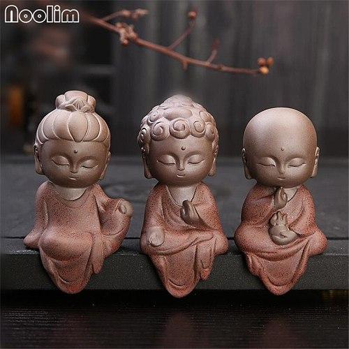 3Pcs/Lot Creative Ceramic Tea Pet Home Decoration Little Monk Crafts Purple Clay Geyao Simple Buddha Statue Car Ornaments