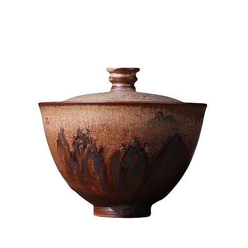 130ml Jingdezhen Handmade Coarse Pottery Gaiwan Hand Painted Ceramic Tureen Teacup Vintage Kung Fu Tea Set Tea Bowls Teapots