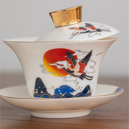 White Porcelain Sancai Covered Bowl  High-end Teacup Heat-resistant Single Ceramic Household White Porcelain Tea Tureen