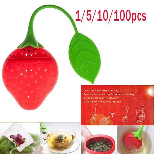 1/5/10/100pcs Tea Strainer Cartoon Strawberry Shape Tea Infuser Loose-leaf Filter Diffuser Herbal Spice Infuser Filter Tools