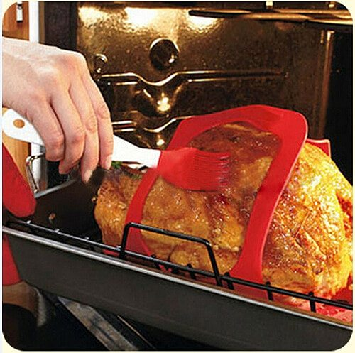 Silicone Turkey Lifter Heat Resistant Non-Stick Oven Meat Roast Barbeque Mat Turkey Baster  Meatball Maker