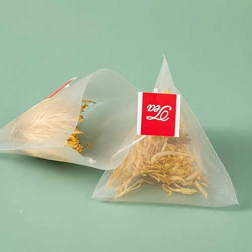 100PCS Tea Filter Teabags Heat-Sealed  Single String Label Nylon Empty Triple-Cornered Tea Bag For Loose Tea Scented tea