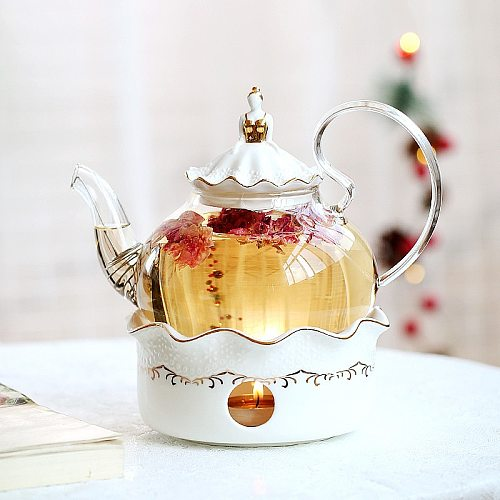 Ceramic Teapot With Strainer Vintage Porcelain British Tea Pot And Cup Set Candle Heating Glass Coffee Mugs Home Decoration