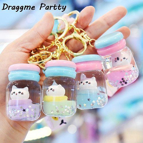 Cute Bubble Tea Cat Keychain Creative Milk Teacup Liquid Crystal Quicksand Sequins Cat Keychain Bag Pendant Keychain