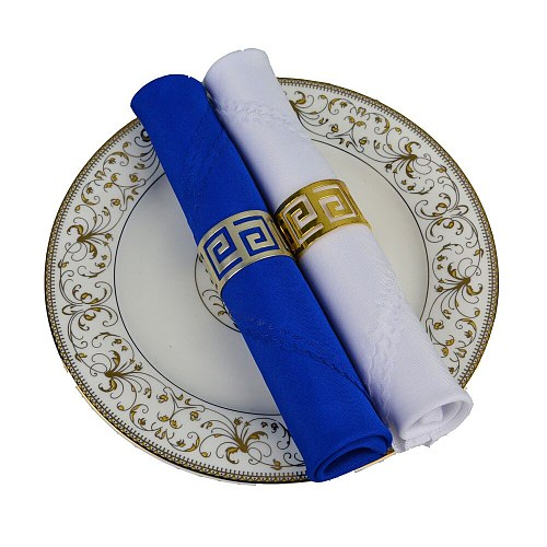 6pcs/lot Royal Blue/White Hotel Table Decoration 19  Square Folding Cloth Party Plain Table Napkin Household Serviette Washable