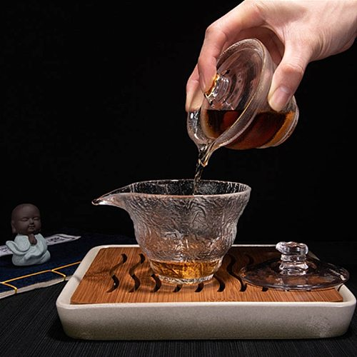 Jusen 250ml Heat Resistant High Borosilicate Glass Tea Tureen Kung Fu Teaware Gaiwan Tea Bowl Bowl With Lid Cup Tea Utensils