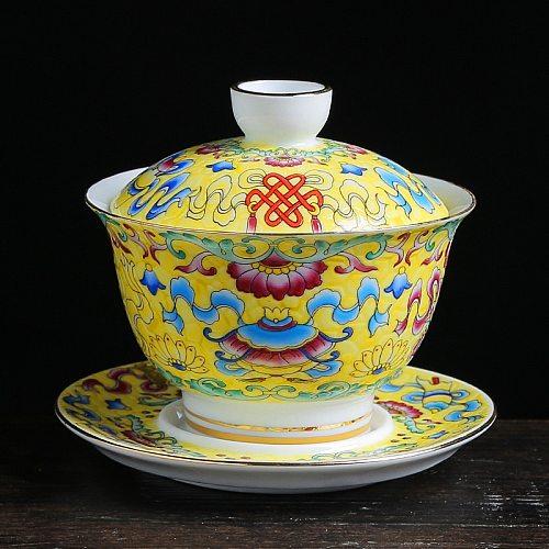 Colorful Enamel Gaiwan Chinese Teaware Sancai Tea Bowl Service Tea Cup and Saucer Set 150ml Teacup Jingdezhen Porcelain Tureen