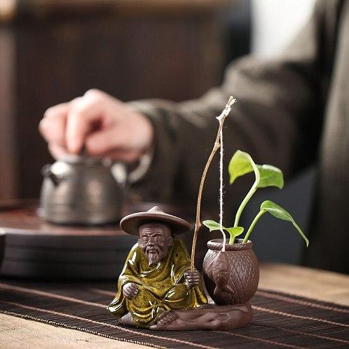 1PCS Ceramic Tea pet decoration Boutique Tea table tea Figurine  Ornaments flower pot Purple Ceramic Crafts Tea Accessories
