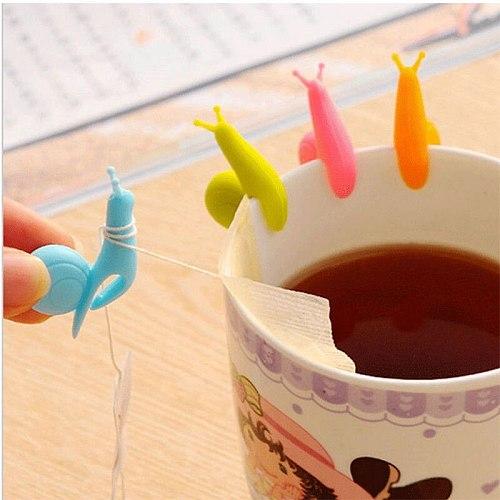 6pcs/bag Lovely Tea Bag Clip Candy Colors Snail Shape Wine Glass Cup Clip Label for Hanging Tea Bag New Arrivals Tea Tools