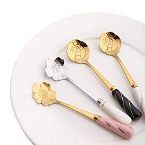 1Pc Cherry Blossoms Shape Coffee Tea Spoon New Creative Stainless Steel Ceramic Handle Spoons Flower Pattern Ice Cream Scoop