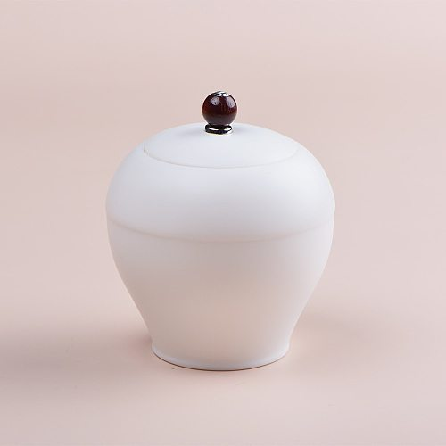 Dehua white porcelain tea pot Ceramic large tea pot Pu 'er tea box Tea cake tea storage pot
