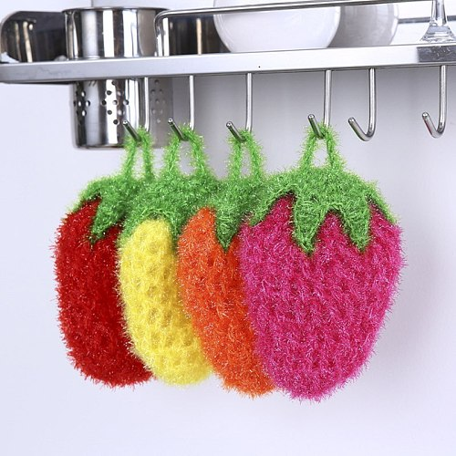 Cleaning Cloth Tableware Strawberry Shape Washing Dishes Towel Cloth Dishcloth Clean Bowl Stove Cleaner Kitchen Tools