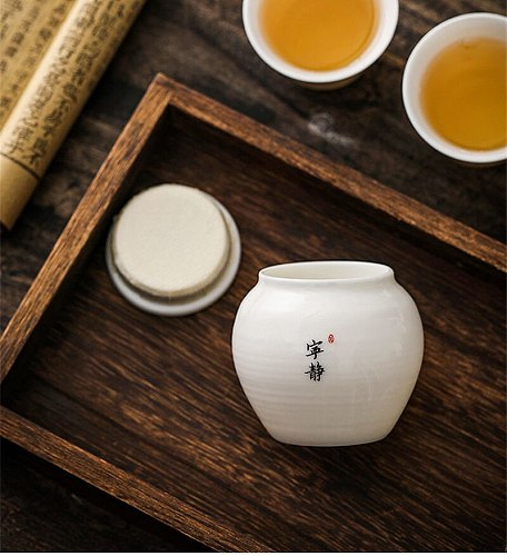 Office Portable Small Tea Box Seasoning Box For Household Kitchen Honey Pot Chinese Style Tea Storage Can Ceramics Sealed Contai