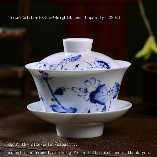 220ml Chinese Style Tea Bowl Jingdezhen Blue and White  Porcelain Tea Tureen Chinese Kung Fu Teaware Vintage Gaiwan Master Cup