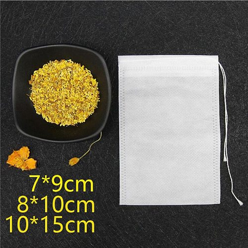 100Pcs Teabags Non-woven Fabric Drawstring Reusable Bags for Soap Herbs Tea Empty Filter Bags for Cooking Kitchen Tool