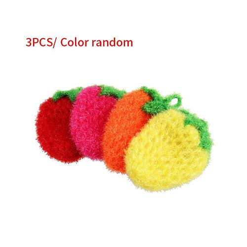 3 Pcs Strawberry Tea Towel Bowls Wash Towel Scrubber Scouring Pad Dishes Cleaning Tool Strawberry Tea Towel