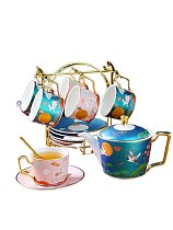 Cy National Fashion Coffee Set Set Creative Ceramic Water Cup Afternoon Tea Set Home with Spoon with Plate Rack