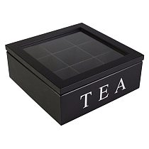 Wooden Tea Box Organizer with Lid 9 Compartments Bamboo Tea Box Retro Style Tea Bag Storage Boxes Holder Home Tea Jewelry Holder