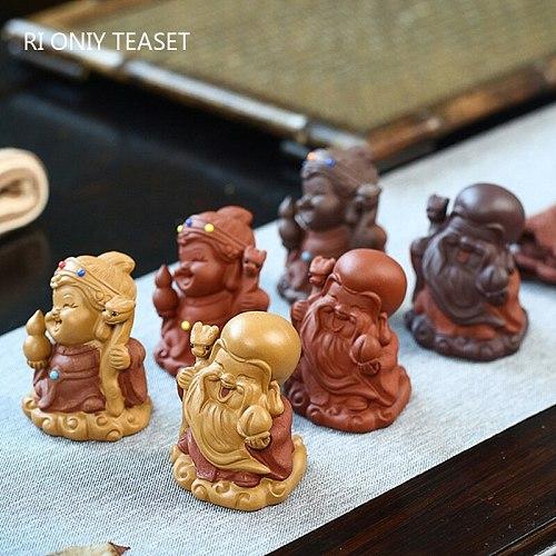 2 pcs/set Yixing Handmade Purple Clay Sculpture Tea pet Lucky Character Figurine Ornaments Chinese Tea Set Art Decoration Gifts