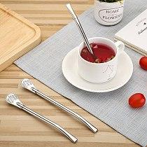 Stainless Steel Drinking Straw Spoon Tea Filter Tea Straws Tea Infuser Strainer Reusable Teaware Tools Kitchen Bar Accessories