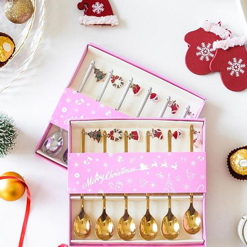 2021 Merry Christmas Metal Spoons Xmas Party Tableware Ornaments Christmas Decorations for Home Table Navidad Tea Scoop New Year
