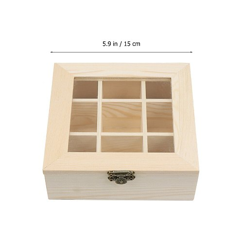 Coffee Storage Box Organizer Wooden Tea Box with 9-Compartment and Glass Window Tea Coffee Display Case Tea Bag Chest Letters