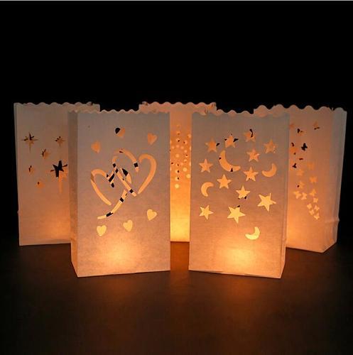 10Pcs Wedding Heart Tea Light Holder Luminaria Paper Lantern Candle Bag Home Romantic Wedding Party Decoration Supplies