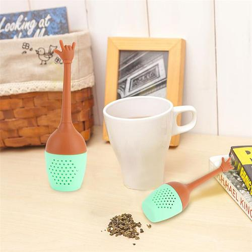 Cute Funny Hands Silicone Tea Infuser Black Tea Strainer Mesh Leaf Herbal Spice Brewing Making Teapot Holder Tea Brewing Tools