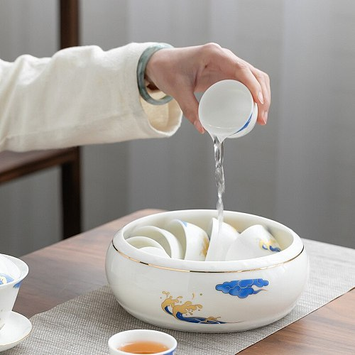 Tea Basin Extra Large Ceramic Whiteware Writing-Brush Washer Tea Set Wash Tea Bowl Tea Ceremony Accessories Tea Basin Wash