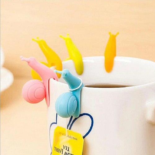 5Pcs/SET Cute Candy Colors Exquisite Snail Shape Silicone Tea Bag Holder Tea Tool RANDOM COLOR