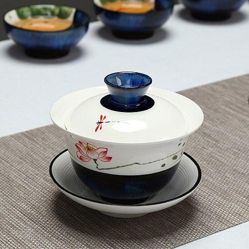 full handpainted gaiwan China gaiwan porcelain tureen ceramic cup bowl lid cup saucer mat china tea bowl Chinese tureen on sales