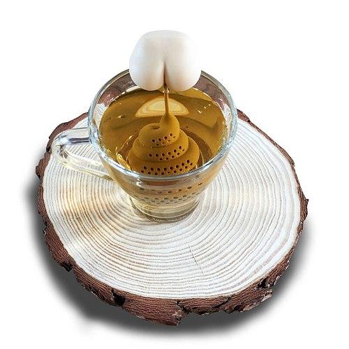 1pc Reusable Silicone Tea Infuser Poop Herbal Tea Bag Creative Coffee Filter Diffuser Strainer Kitchen Tea Accessories TXTB1