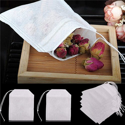 100 pcs Empty Teabags String Heat Seal Filter Paper Herb Loose Tea Bag Non-Woven Fabrics white Empty Teabags String Heat Seal