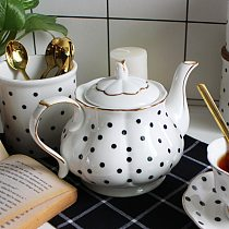 British Afternoon Tea set Bone Porcelain Points Hand-painted Golden Teapot Creative Coffee Pot Simple Water Pot