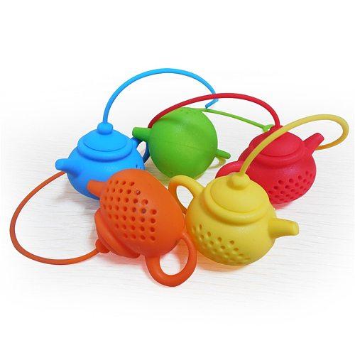 Tea Infuser Strainer Silicone Tea Bag Leaf Filter Diffuser  Teapot-Shape Kitchen Tea Set Gadget Teapot Accessory
