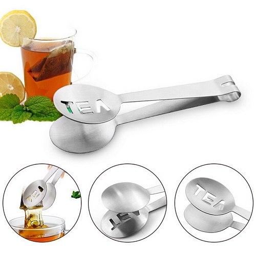 Stainless Steel Tea Bag Tongs Reusable Teabag Squeezer Strainer Holder Grip Metal Spoon Mini Clip Tea Leaf Strainer
