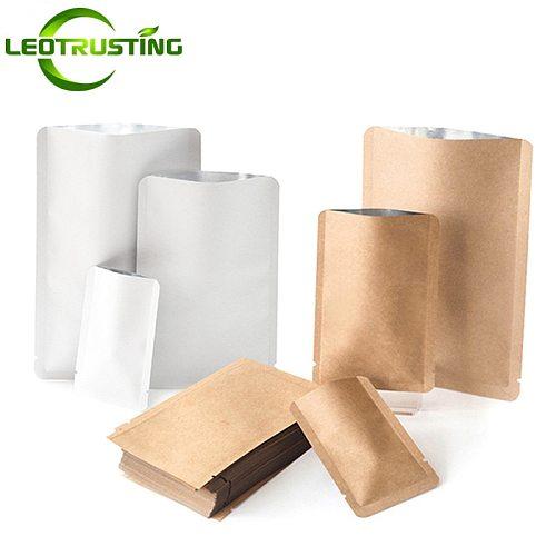 New Kraft Paper Round Corner Open Top Bag Ground Coffee Tea Powder Flour Liquid Chocolate Trail Heat Sealing Packaging Pouches