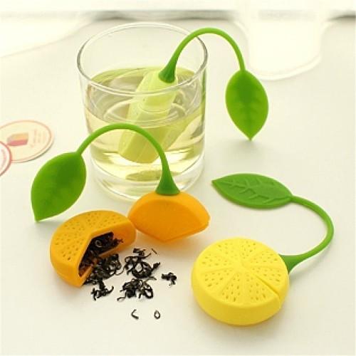 Hot Sales Tea strainer Lemon Shaped Silicone Perforated Tea strainer Filter Infuser Orange Green