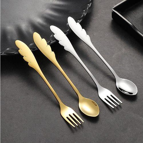 4Pcs Feather Handle Coffee Spoon Tea Stirring Spoon Ice Cream Cake Dessert Scoop Sugar Measuring Gadgets Fruit Dessert Fork