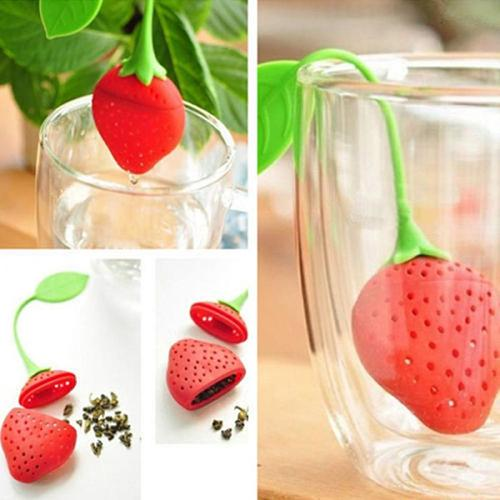 Kitchen Supplies Silicone Strawberry Spice Infuser Filter Diffuser Tea Leaf Strainer Teapot Kitchen Gadgets And Accessories Hot