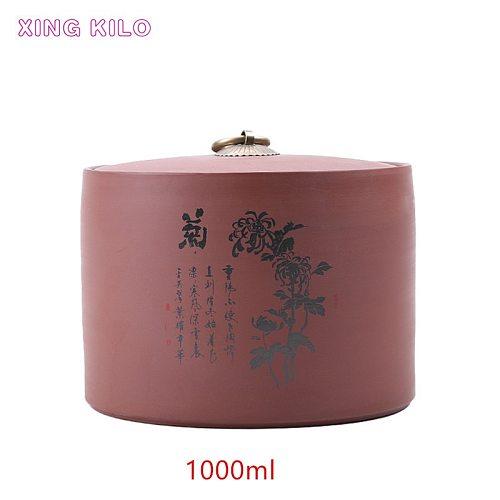 XING KILO 1000ml Multipurpose storage tank Large Tea Caddy Ceramic Pu'er Tea Sealed Jar Original Mine Tea Set Purple Sand Box