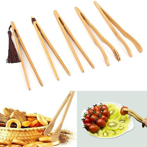 Wooden Kitchen Anti Scalding Clamp Food Tongs Clamp Grilled Meat Cake Bread Dessert Clip Anti-scalding Tea Clip Kitchen Tool