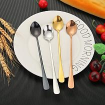 Long Handle Coffee Spoons Stainless Steel Coffee Tea Spoons Stirring Ice Spoon Tableware Kitchen Gadgets 8 Colours